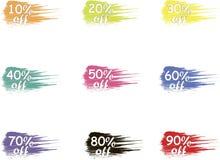 Av vektoretiketter försäljning Färgrika försäljningsetikettsymboler, produktemballage Fotografering för Bildbyråer