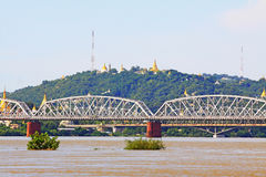 Ava Bridge Cross The Irrawaddy River, Sagaing, Myanmar. The Irrawaddy River is a river that flows from north to south through Myanmar. It is the country`s Stock Images