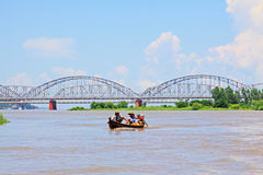 Ava Bridge Cross The Irrawaddy River, Sagaing, Myanmar. The Irrawaddy River is a river that flows from north to south through Myanmar. It is the country`s Royalty Free Stock Photos