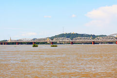Ava Bridge Cross The Irrawaddy River, Sagaing, Myanmar. The Irrawaddy River is a river that flows from north to south through Myanmar. It is the country`s Stock Photo
