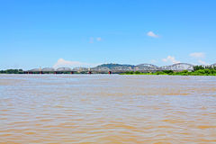 Ava Bridge Cross The Irrawaddy River, Sagaing, Myanmar. The Irrawaddy River is a river that flows from north to south through Myanmar. It is the country`s Stock Photography