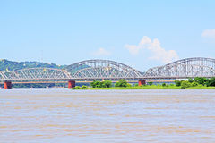 Ava Bridge Cross The Irrawaddy River, Sagaing, Myanmar. The Irrawaddy River is a river that flows from north to south through Myanmar. It is the country`s Royalty Free Stock Image