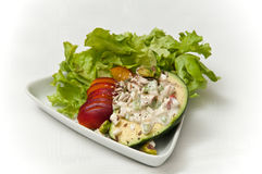 Avacado apple and nectarine salad Stock Image