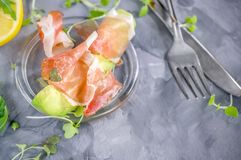 Avacado with bacon, traditional breakfast. Healthy food for weight normalization. Copy spase stock photography