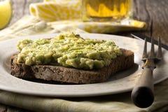 Avacado på rostat bröd Arkivbilder