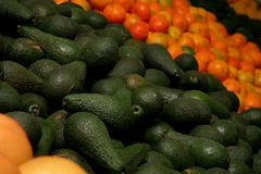 Avacado Pear Pile. Heap of avocado pears in a fruit and veg shop Stock Photos