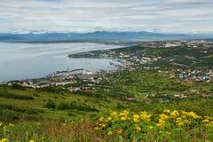 Avacha Bay and Petropavlovsk-Kamchatsky from Mishennaya hills Stock Photos
