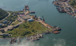 Avacha Bay and Petropavlovsk-Kamchatsky on the southeastern coast of Kamchatka Peninsula. Stock Photos