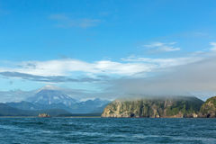 Avacha Bay and Vilyuchinsky stratovolcano. Stock Photos