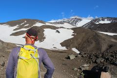 Hiker at the foot of Avachinsky volcano stock image