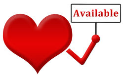 Available Heart Holding Signboard Royalty Free Stock Photo
