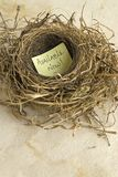 Available now. Empty nest with a message,Available Now Stock Photos