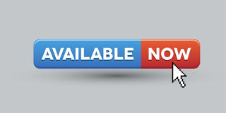 Available now. Button red and blue royalty free illustration