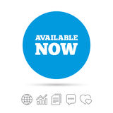 Available now icon. Shopping button. Available now icon. Shopping button symbol. Copy files, chat speech bubble and chart web icons. Vector Stock Images