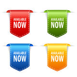 Available now ribbon bookmars icon Stock Photos
