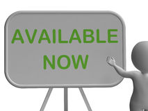 Available Now Sign Shows Availability And In Stock Stock Images