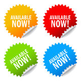 Available now sticker. S, vector illustration royalty free illustration