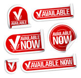 Available now stickers. Royalty Free Stock Photo