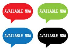 AVAILABLE NOW text, on rectangle speech bubble sign. Royalty Free Stock Photos
