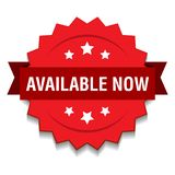 Available now. Vector illustration of available now seal red star on isolated white background vector illustration