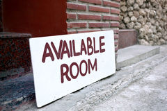 Available Room Sign on board. Available Room Sign outside Hotel, vacancy room waiting for guests royalty free stock image
