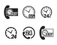Always available services. 24/7 icons set. Royalty Free Stock Photo