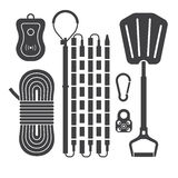 Avalanch Rescue Kit Outline Icons Royalty Free Stock Image
