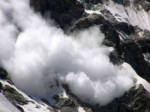Avalanche. Mountains. Caucasus.Kabardino-Balkariya. Bezengi. Avalanche Royalty Free Stock Photo