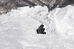 After avalanche. Part of chairlift brought down by avalanche Stock Images