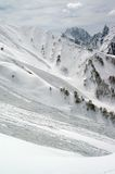 Avalanche. Mountainside after avalanche. Caucasus Mountains Stock Image