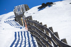 Avalanche barriers protecting ski slopes in Sierra Nevada Stock Image