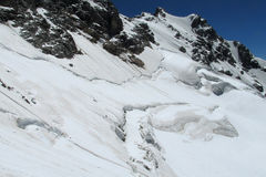 Avalanche in the Caucasus mountains Stock Photos