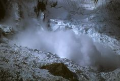 Avalanche on Copa icewall Royalty Free Stock Image