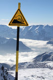 Avalanche, danger sign. Image of warning sign in Alpe d'Huez Stock Photos