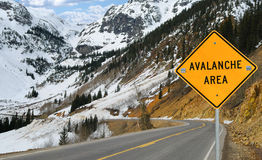 Avalanche et signe photographie stock