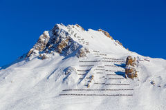 Avalanche fences, Tignes, France. Avalanche fences on top mountain, Tignes, France Stock Images