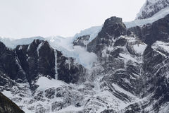 Avalanche in French Valley in National Park Torres del Paine, Patagonia, Chile Stock Photos