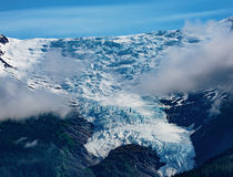 Avalanche Glacier. Tracy Arm Fjord, AK, USA - May 27, 2016: Closeup of one of the many mountain peaks saddles seen while cruising the Tracy Arm Fjord, in Alaska stock photo