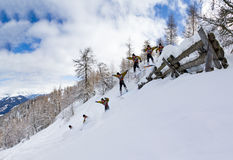 Avalanche jump Royalty Free Stock Image