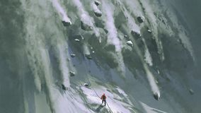 The avalanche for mountain climber vector illustration