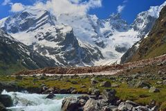 Avalanche in mountains Stock Photography