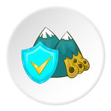 Avalanche in mountains and sign safety icon Stock Image
