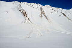 Avalanche near the road Royalty Free Stock Photos