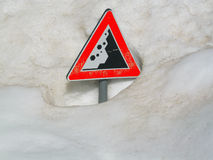 Avalanche risk. Road sign warning of Avalanche risk, under snow - Italian Alps Royalty Free Stock Photography
