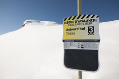 Avalanche risk, sign in mountain. Avalanche risk, sign on ski station, french Alps, Arêches Royalty Free Stock Photography