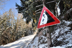 Avalanche sign in Alps. Royalty Free Stock Photo