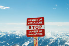 Avalanche sign and mountains Royalty Free Stock Image