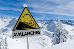 Avalanche sign in winter Alps with snow Royalty Free Stock Photos
