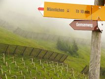Wengen, Switzerland, Snow protection works and signposted signs royalty free stock photo