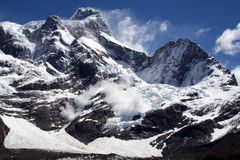 Avalanche, Torres del Paine peaks, Patagonia Stock Photography